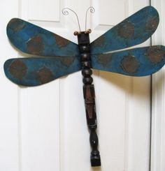 Verdigris Table Leg Dragonfly Wall or Garden Art by LucyDesignsonline, $85.00