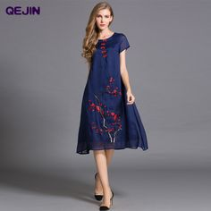 312fe71a5d Aliexpress.com   Buy High Quality Embroidery flower silk linen Dress short  Sleeve Cotton Lining two pieces suit Plus size XXL Dresses long Blue White  from ...