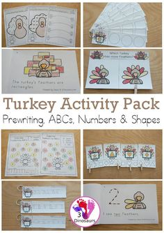 Turkey Activity Pack: Prewriting, Shapes, ABCs, & Numbers - with no-prep pages, easy reader books, and tracing strips with different activities for each learning area. It has 189 pages of printables… More