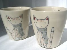 Handmade Ceramic Cup Cat and Scarf Cup by abbyberkson on Etsy