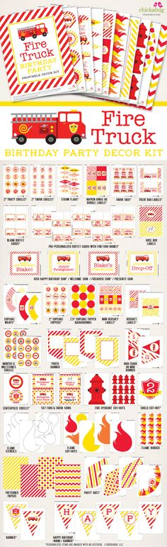 Items similar to Fire Truck Birthday Party Printable Decor Kit - Over 75 pages of fun designs! on Etsy Fireman Birthday, Fireman Party, Happy Birthday Cupcakes, Happy Birthday Name, Birthday Party Decorations, 1st Birthday Parties, Birthday Ideas, Birthday Traditions, Party Kit