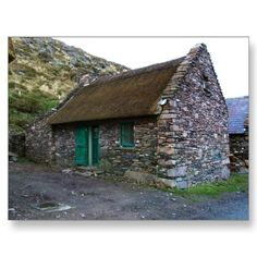Thatched Cottage Gifts on Zazzle Stone Exterior Houses, Old Stone Houses, Cottage Exterior, Irish Cottage, Cute Cottage, Old Cottage, Stone Cottages, Cabins And Cottages, Cabana