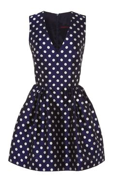 Navy Dotted Silk Bell-Shaped Mini Dress by Martin Grant Now Available on Moda Operandi