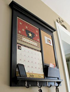 Home Decor Framed Furniture 2014 Front Loading Calendar Mail Organizer Storage and Shelf with Bulletin Board Cork or Chalk board and Keyhook via Etsy
