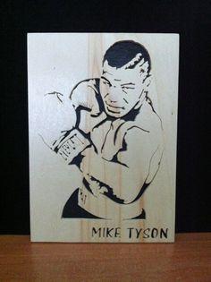Mike Tyson en bois par Planetasierra sur Etsy Mike Tyson Tattoo, Stencil Art, Stencils, Chris Brown Art, 3d Pencil Drawings, Skull Sketch, Sports Drawings, Star Silhouette, Portrait Wall