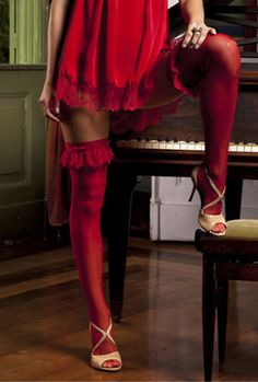 Gullis Lingerie - Meias - Rouge: Meia 7/8 persexy