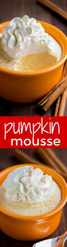 Pumpkin mousse cups have the taste and texture of whipped pumpkin pie. Smooth and airy pumpkin mousse recipe with the best rum-infused whipped cream!   natashaskitchen.com