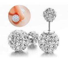Fashion Sterling Silver Jewelry Earrings Crystal Disco Ball Stud Earrings Fine Jewelry for Women Gift http://cinderellajewelry.com/