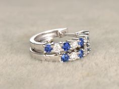 0.36ct Natural Sapphire and Diamond earrings pair Solid 14K White Gold Blue Stone Gemstone Promise Wedding - BBBGEM