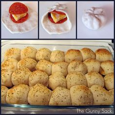 Easy Pepperoni Rolls Ingredients: 3 cans Pillsbury Buttermilk Biscuits biscuits per can) 56 pepperoni slices Block of cheese (I use Colby & Monterey Jack) 1 beaten egg Parmesan Italian seasoning Garlic powder 1 jar pizza sauce great after school snack! Think Food, I Love Food, Food For Thought, Good Food, Yummy Food, Tasty, Yummy Snacks, Easy Pepperoni Rolls, Appetizer Recipes