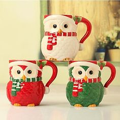 Christmas owl ceramic mug fine hands painting bone china cup home decoration Christmas gifts and decorations Christmas Cartoons, Christmas Owls, Christmas Gifts, Christmas Decorations, Merry Christmas, Ceramic Owl, Ceramic Cups, Owl Coffee, Coffee Mugs