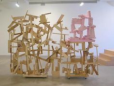 Sculpture by Rachel Harrison, of wood and polystyrene.