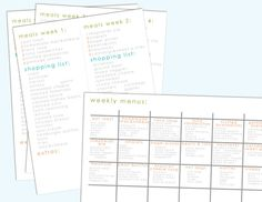 Weekly meal plan and shopping list printables #organized