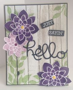 Stampin Up Crazy About You & Hardwood hello card Homemade Birthday Cards, Homemade Cards, Flower Stamp, Flower Cards, Cricut Cards, Stampin Up Cards, Cards For Friends, Friend Cards, Scrapbook Cards