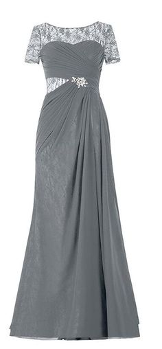 Endofjune Illusion Lace Bateau Neckline Long Mother of the Bride Dress Grey -- Awesome product. Click the image : mother of the bride dresses Bride Dresses, Formal Dresses, Bateau Neckline, Wedding Attire, Mother Of The Bride, Illusions, Just For You, Free Shipping, Weddings