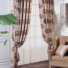 Floral Country Brown Energy saving Curtains  #curtains #decor #homedecor #homeinterior #brown