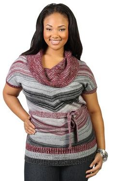 plus size striped tunic top with belt and draped cowl neck