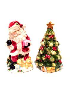 Santa Tree Salt Pepper Shakers // Vintage Santa by GodsofVintage, $28.00