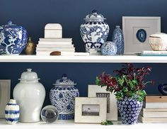 Discover Williams-Sonoma Home's decorative ginger jars and more for classic blue and white decor. Shop luxury vases and more that are functional and versatile for any space. Blue And White China, Blue China, Dark Blue, My Living Room, Living Room Decor, Dining Room, Driven By Decor, Bookcase Styling, Table Top Design
