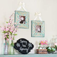 Pretty Teal-and-Pink Spring Mantel