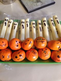 "Cheese stick ghost and mandarin Orange ""pumpkins"" healthy Halloween treats for kids. Cheese stick ghost and mandarin Orange pumpkins healthy Halloween treats for kids. Halloween Party Snacks, Halloween Snacks For Kids, Hallowen Food, Healthy Halloween Treats, Halloween Treats For Kids, Halloween Desserts, Halloween Birthday, Halloween Appetizers, Spooky Halloween"
