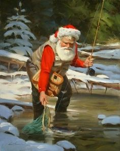 Santa fishing in the off season. ❣Julianne McPeters❣ no pin limits