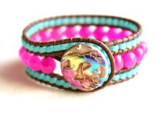 Etsy OlenaDesigns Canada $58  Hot pink Jade Boho Leather Wrap Bracelet, all the fashion now, LOVE IT!