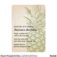 Elegant Pineapple Birthday Party Invitation