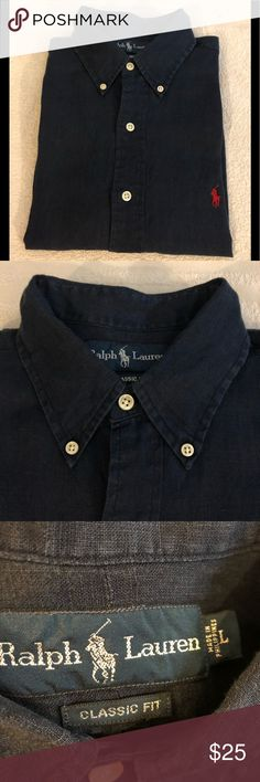 Polo Ralph Lauren Navy Blue Linen Shirt L Polo Ralph Lauren Solid Navy Blue Short Sleeve LINEN Shirt size L! Great condition! Please make reasonable offers and bundle! Ask questions! :) Polo by Ralph Lauren Shirts Casual Button Down Shirts