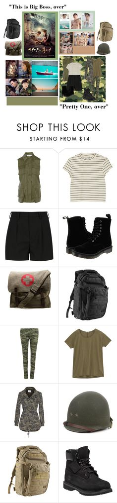 """Descendants of the Sun ""Kang Mo Yeon & Yoon Myeong Ju"""" by taehyung-xo-101 ❤ liked on Polyvore featuring Elizabeth and James, Monki, Yves Saint Laurent, Dr. Martens, Rothco, 5.11 Tactical, WearAll, Lee, Velvet by Graham & Spencer and Timberland"