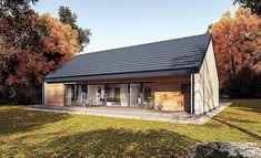 Zdjęcie projektu Murator C365h Przejrzysty - wariant VIII WAJ3914 Barn House Design, Wooden House Design, Modern Barn House, Metal Building Homes, Building A House, Bungalow Conversion, Steel Frame House, Long House, Farm Cottage