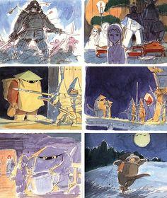 隠れた名作「パンダコパンダ」から「となりのトトロ」、「ハウルの動く城」まで、宮崎駿監督が手がけたジブリ映画の原案段階のイメージボードに描かれたコンセプト・スケッチです。映画とはちょっと違ったシーン...