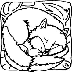 Easy Sleeping Fox Coloring Page - Free Coloring Sheets Fox Coloring Page, Family Coloring Pages, Easy Coloring Pages, Coloring Sheets For Kids, Cartoon Coloring Pages, Animal Coloring Pages, Coloring Pages To Print, Free Printable Coloring Pages, Coloring Books