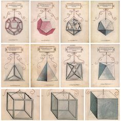 "Illustrations of various geometric figures by Leonardo da Vinci for Luca Pacioli's ""De Divina Proportione"" - the only thing da Vinci had a hand in that was published during his life time. It was first released in 1509 and only 2 copies remain."