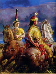 Eurasian Steppe, Warrior 1, Goddess Warrior, Cloth Flowers, Central Asia, Ancient Civilizations, Archaeology, Ukraine, Illustration