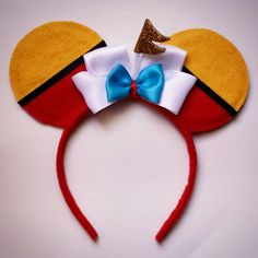 Tweedle Dee & Tweedle Dum Mouse Ears by MakeMeMinnie on Etsy Mickey Mouse Ears Headband, Disney Mickey Ears, Minnie Mouse, Disney Diy, Disney Crafts, Disney Bows, Disney Magic, Walt Disney, Disneyland Ears