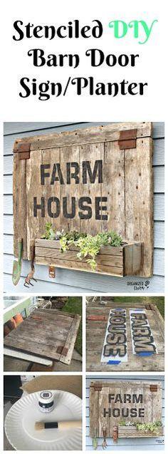 Barn Door Sign/Planter Box with Old Sign Stencils #stencil #oldsignstencils #farmhouse #farmhousedecor #junkgarden #gardenjunk #containergarden #barnwood