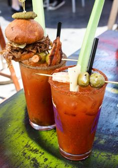 Goins ALL OUT with a bloogy mary. Including spicy salt rim and big olives  The 12 best Bloody Marys in LA