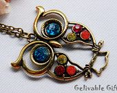 Vintage Style Owl necklace with blue eyes and colorful crystal NO04