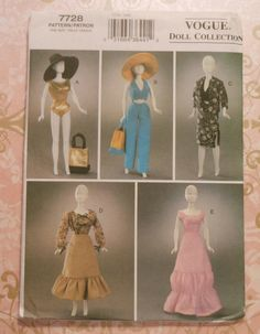 """11.5"""" Fashion Doll Clothes Sewing Pattern Vogue Doll Collection 7728 gown swimming suit hat"""