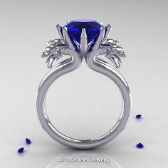 Norwegian 14K White Gold 3.0 Carat Blue Sapphire Dragon Engagement Ring R901-14KWGBS | ArtMastersJewelry