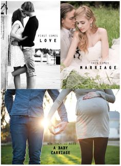 First comes love - engagement picture, then comes marriage - wedding picture, now they'll need a baby carriage - pregnancy announcement. This is amazing! Such a touching idea. Maternity Pictures, Pregnancy Photos, Baby Pictures, Maternity Photography, Family Photography, Foto Fun, Foto Baby, Baby Time, Looks Cool