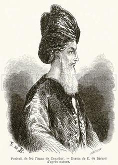 Portrait de feu l'iman de Zanzibar 1860 - H.H Sayyid Said bin Sultan Albusaid - Sultan of Oman and Zanzibar 1804 - 1956.