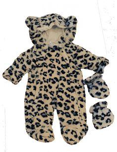 Leopard Print Baby Snowsuit | Animal Snowsuit With Ears | Cute Snowsuits