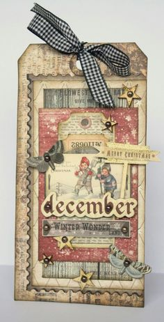 Riddersholm Design: Christmas Tag by Romy Christmas Paper Crafts, Christmas Gift Tags, Xmas Cards, Christmas Projects, Handmade Christmas, Vintage Christmas, Altered Art Christmas, Holiday Cards, Cozy Christmas