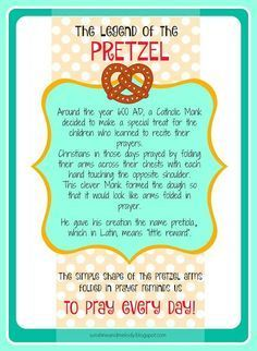 LDS ACTIVITY DAYS Pretzels and Prayer Activity and lesson. GREAT lesson for Family Home Evening FHE or Primary, Scouts, Young women or any religious group. Legend of the Pretzel Printable from Sunshine and Melody at http://sunshineandmelody.blogspot.com