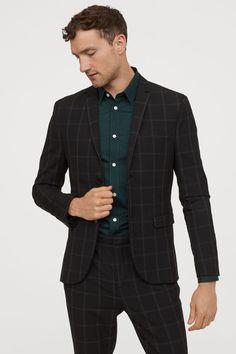 Skinny Fit Checked Blazer - Black/white checked - Men | H&M US