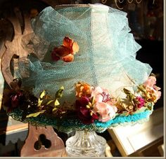 Gorgeous Lampshade, Millinery Flowers, Tulle, and Trim By Rose Mille