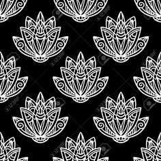 Abstract Floral Seamless Pattern With Lotus Flowers In Black.. Royalty Free Cliparts, Vectors, And Stock Illustration. Image 43873867.