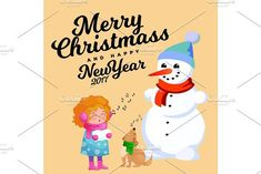 Family of snowman in black hat and gloves, red scarf tied around neck, nose from the carrot, little girl singing holiday songs and dog helping her, marry christmas happy new year vector illustration. Decor